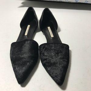 Zara woman's black calf hair pointed toe flats 6